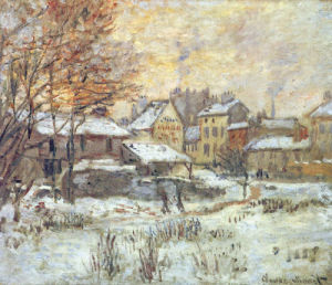 Snow Effect, Sunset by Claude Monet
