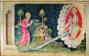 The River of Paradise, no.82 from The Apocalypse of Angers, 1373-87 (tapestry) by Nicolas Bataille