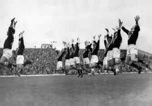 New Zealand Rugby League team perform Haka, 1955 by Mirrorpix