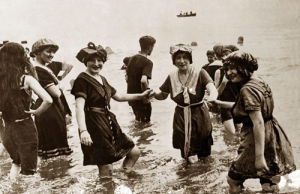 Edwardian ladies paddling in the sea, 1906 by Mirrorpix