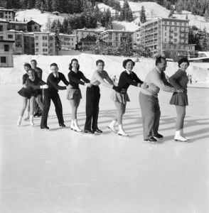 Ice skating, 1953 by Mirrorpix