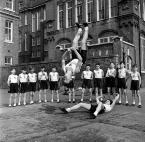 School gymnastics, Battersea 1952 (2) by Mirrorpix