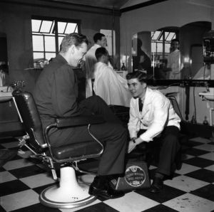 Shoe shine at USAF base, 1950's by Mirrorpix