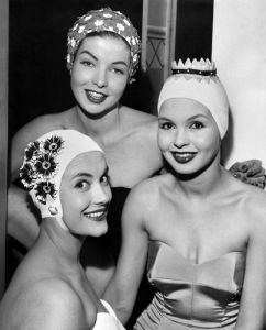Kleinerts bathing caps, Waldorf Hotel 1958 by Mirrorpix