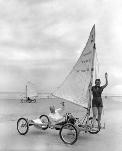 Sand yachting, 1953 by Mirrorpix