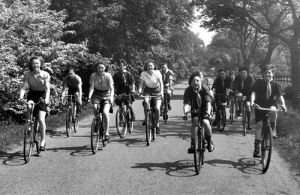 Cyclists, Northumberland 1950 by Mirrorpix