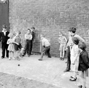 Street cricket, Govan 1956 by Mirrorpix