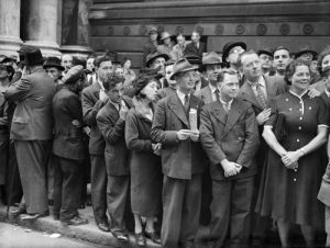 Crowds wait for declaration of war, Downing Street 1939 by Mirrorpix