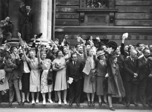Crowds in Downing Street, 1939 by Mirrorpix