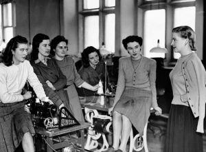 Dorothy Blakely visits Pringle factory, Berwick 1948 by Mirrorpix