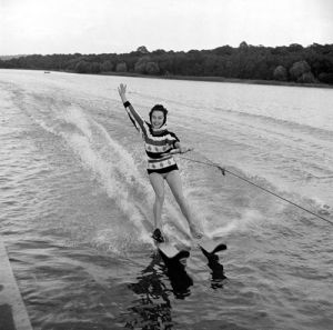Grace O'Connor waterskiing, 1957 by Mirrorpix