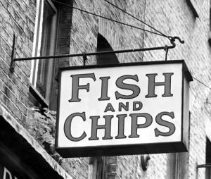 Fish and Chips shop sign, 1951 by Mirrorpix