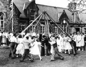School Maypole dance, 1955 by Mirrorpix