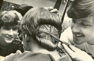 Mens hairdresser cuts Union Jack design, 1970 by Mirrorpix
