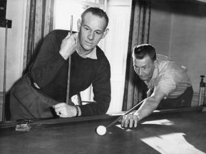 Miners playing billiards, Hartfield Hall 1950s by Mirrorpix