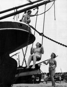 Swing on trawler, St Ives 1950 by Mirrorpix