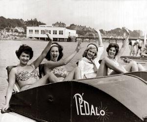 Girls in pedalo, Weston-super-Mare 1959 by Mirrorpix