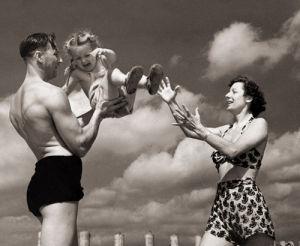 Family on beach, Sandwich Bay 1947 by Mirrorpix