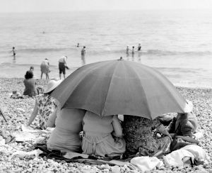 Beach umbrella, 1963 by Mirrorpix