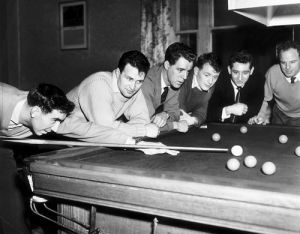 Newcastle footballers play snooker, 1950s by Mirrorpix