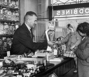 Harold Larwood in his sweetshop, Blackpool 1949 by Mirrorpix