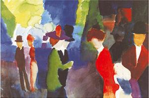 Leute die sich begegnen by August Macke