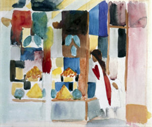Kinder am Gemuseladen I, 1913 by August Macke