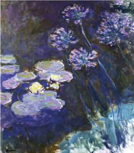 Gelbe Seerosen und Agapanthes by Claude Monet