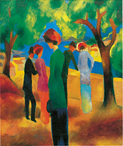 Dame in gruner Jacke, 1913 by August Macke