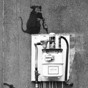 Banksy - Hoxton (B&W) by Panorama London
