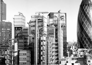 Lloyds and Gherkin (B&W) by Panorama London