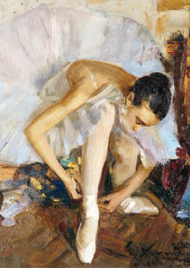 Ballerina Fixing Her Shoe by Vasily Bratanyuk