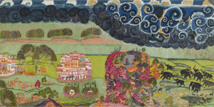 Death of Vali; Rama and Lakshmana wait out of the monsoon by Anonymous