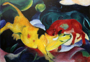 Cows, Yellow-Red-Green by Franz Marc