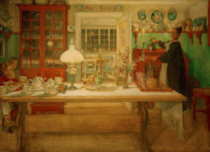 Preparations for a little (Vira) game 1901 by Carl Larsson