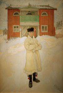 Daniel Mats outside his house Danielshof in Bingsjo, 1917 by Carl Larsson
