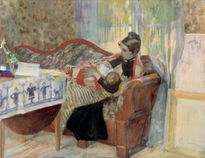 The artist's wife Karin and daughter Brita 1893 by Carl Larsson