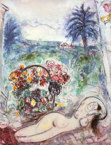 Nude with Flowers by Marc Chagall