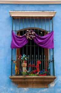 Window decorated for Holy Week Procession, Antigua, Guatemala by Sergio Pitamitz