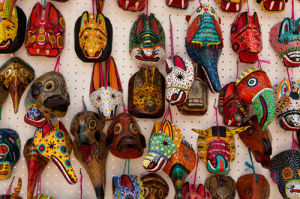 Traditional masks, Santiago Atitlan, Lake Atitlan, Guatemala by Sergio Pitamitz