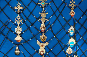 Jewellery on blue, Medina Souk, Marrakech, Morocco by Sergio Pitamitz