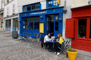 Outdoor Cafe, Rue Barres, Marais Quarter, Paris, France by Sergio Pitamitz