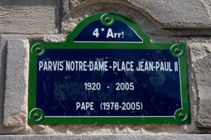 Paris Notre-Dame - Place Jean-Paul II sign, Ile de la Cite, Paris, France by Sergio Pitamitz