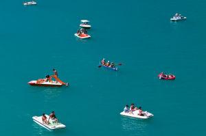 Boats on Lake Sainte Croix, Provence, France by Sergio Pitamitz