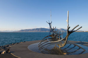 Sculpture of a Viking ship by Jon Gunnar Arnason, Reykjavik, Iceland by Sergio Pitamitz