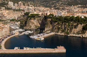 Fontvieille harbour and Monaco from the air, Cote d'Azur, Monaco by Sergio Pitamitz