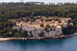 Ile Sainte-Marguerite, Iles de Lerins from the air, Cote d'Azur, France by Sergio Pitamitz