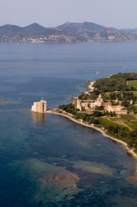 Ile Saint-Honorat, Iles de Lerins from the air, Cote d'Azur, France by Sergio Pitamitz