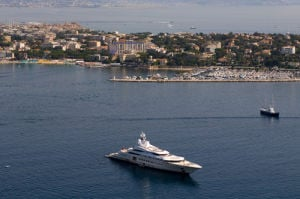 Pelorus (yacht of Roman Abramovich) outside Juan-les-Pins, Cap d'Antibes, Cote d'Azur, France by Sergio Pitamitz