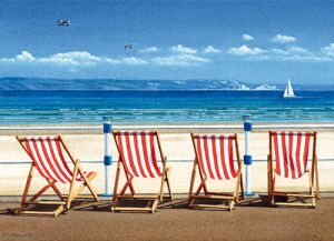 Four Red Deckchairs by Margaret Heath